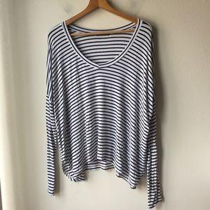 Brandy Melville Long Sleeve V-neck Stripe Shirt